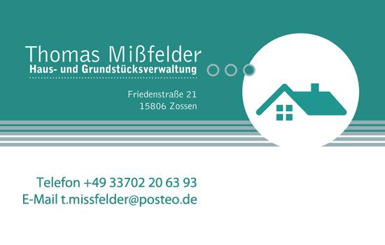 Visitenkarten von Thomas Mißfelder Haus- und Grundstücksverwaltung