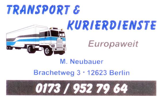 Visitenkarte vom Transport- und Kurierdienst Michael Neubauer